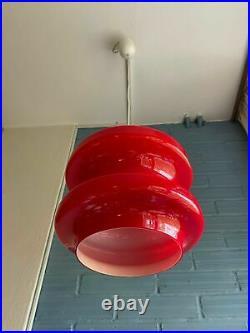Vintage Mid Century Pendant Space Age Lamp Atomic Design Light Opaline Glass