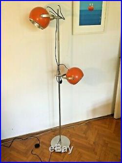 Vintage Mid Century Space Age Lamp Floor Atomic Design Light Orange Eyeball