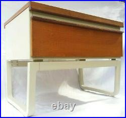 Vintage Mid century 70s Atomic Pair Bath Cabinet Makers Bedside Table Drawers