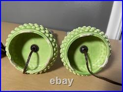 Vintage Pair Avocado Green Glass Table Lights Lamp Atomic MID Century Modern