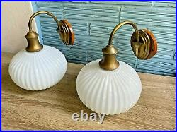 Vintage Pair of Sconce Brass Lamp Atomic Design Light Mid Century Glass Wall