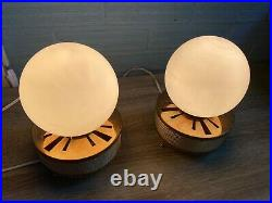 Vintage Pair of Space Age Glass Table Lamp Atomic Design Light Mid Century