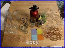 Vintage Retro Atomic Home Mid Century Cocktail Bar Cabinet & Glassware joblot