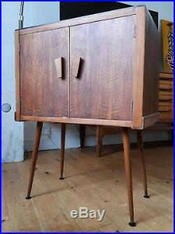Vintage Retro Mid Century Modern Teak Vinyl Record Cabinet Dansette Atomic Legs