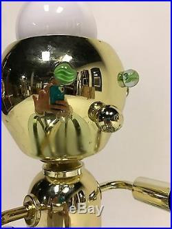 Vintage Robot Atomic Ufo Light Lamp Sputnik Eyeball Torino Brass MID Century Mod
