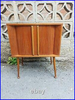 Vintage Roll Front Record Cabinet Sliding Doors Mid Century Atomic Furniture