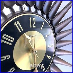 Vintage Syroco 22 Starburst Wall Clock MCM VTG 1960s Mid Century Mod Atomic Age