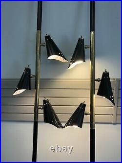 Vintage TENSION POLE FLOOR LAMP PAIR mid century modern light atomic retro 50s