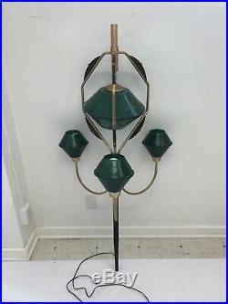 Vintage TENSION POLE FLOOR LAMP PART mid century modern light green atomic retro
