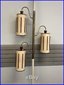 Vintage TENSION POLE FLOOR LAMP mid century modern light atomic retro 50s wood