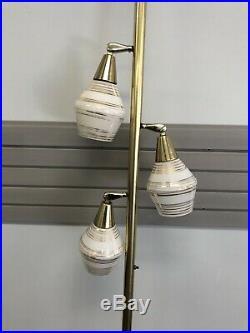 Vintage TENSION POLE FLOOR LAMP mid century modern light atomic retro gold 50s