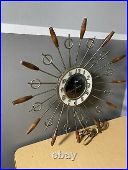 Vintage United Sunburst Modern Atomic Starburst Teak MID Century MCM Wall Clock
