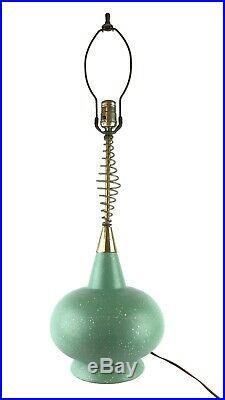 Vtg 1950s Midcentury Space Atomic Age Ceramic Table Lamp Metal Spiral Jetsons