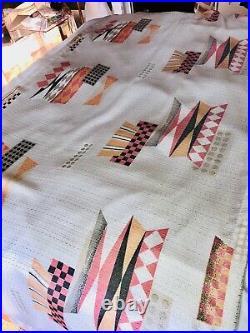 Vtg 50's Mid-century MCM Atomic Era White Pink Tan Pleated Curtains Drapes 6pc