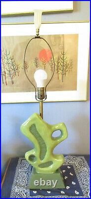 Vtg 50s Mid Century Aladdin Green Modernist Abstract Lamp Atomic with Finial