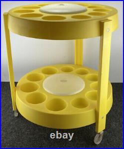 Vtg Bar Cart Mid Century Round Serving Tiara Casa Kartell Panton Atomic Yellow