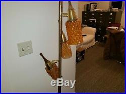 Vtg Gold Teak Amber Floor Lamp mid century modern danish atomic cone pole 50 60s