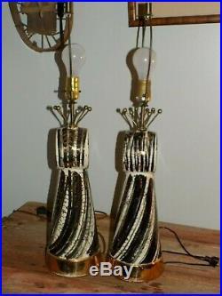 Vtg PAiR TABLE LAMPS Mid CenTury Modern BLK WhiTe GoLd ATomic SpuTNiK Starburst