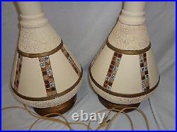 Vtg Table Lamp Pair Mid Century Atomic Danish Modern Mosaic Tiki 1950s 60s Era