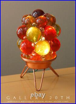 WOW! CUSTOM MID CENTURY MODERN ATOMIC GLASS TRIPOD ACCENT LAMP! VTG LUCITE 1950s