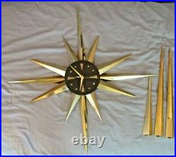 Welby Starburst Clock Mid Century Atomic Brass Gold & Black Wall Clock
