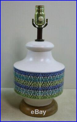 Wonderful Pair Of Mid Century Danish Modern Atomic Geometric Ceramic Table Lamps