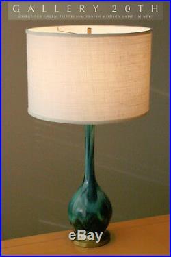 Wow! MID Century Danish Modern Green Drip Glazed Porcelain Lamp 50's Vtg Atomic