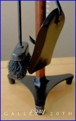 Wow! MID Century Modern Atomic Fireplace Tools! Tripod! Walnut! Brass! Vtg 1953