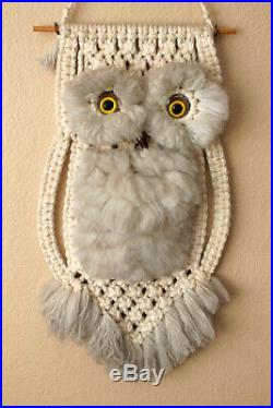 Wow! Vtg MID Century Modern Macrame Owl Wall Art! 1960s Orig Atomic Retro Decor