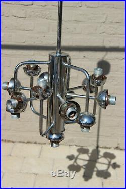XL 13 GLOBES opaline SPUTNIK ATOMIC Mid century retro chandelier pendant chrome